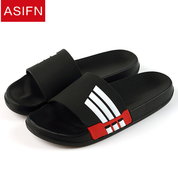 ASIFN Men Slippers Summer Beach Male Slides Women Non-slip Flip Flops Striped Style Outdoor Indoor Sandals for Couple Soft