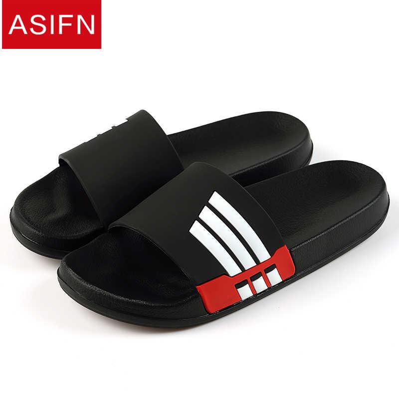 85c6fdfab7b8aa ASIFN Men Slippers Summer Beach Male Slides Women Non-slip Flip Flops  Striped Style Outdoor