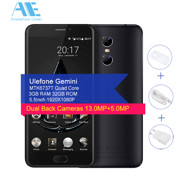 Original Ulefone Gemini Dual Back Cameras MT6737T Quad Core Android 6.0 5.5Inch 3GB RAM 32GB ROM Front Touch ID OTG Mobile Phone
