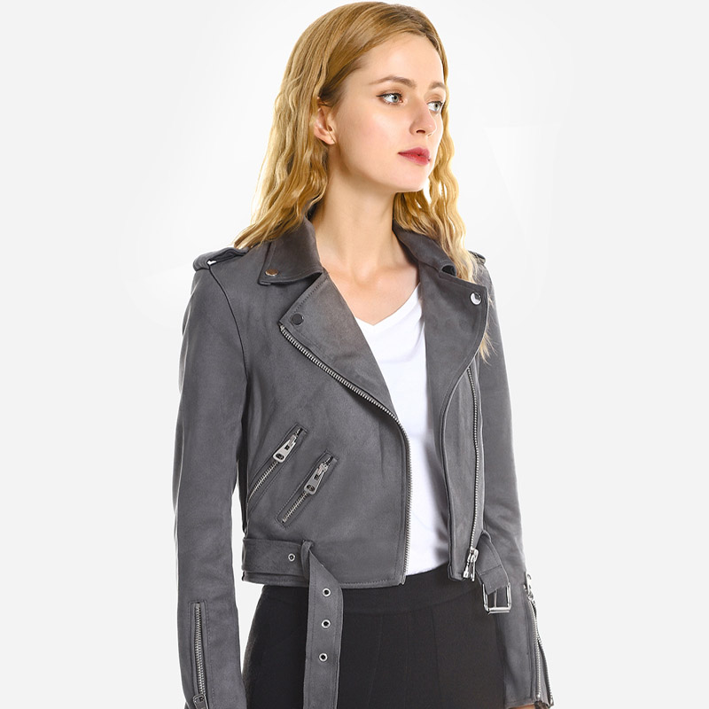 Ailegogo   Suede   Faux Soft   Leather   Zipper Jacket Coat Women Casual Pu Motorcycle Turn-down Collar Slim   Suede   Short Jacket Overcoat