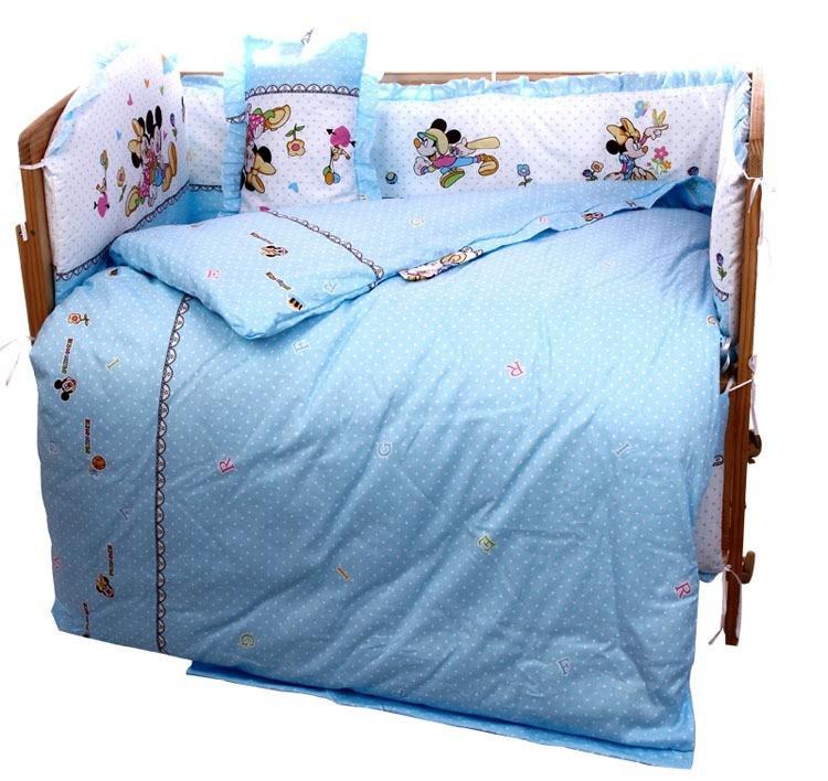 Promotion! 6PCS Cartoon Cute Baby Cot Set 100% Cotton Crib Set ,Baby Bedding Set Unpick (3bumpers+matress+pillow+duvet)