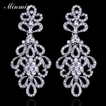 Minmin Luxury Crystal Bridal Long Earrings Plant Silver/Gold-color Wedding Party Drop Earrings Femme Pendante Jewelry EH177