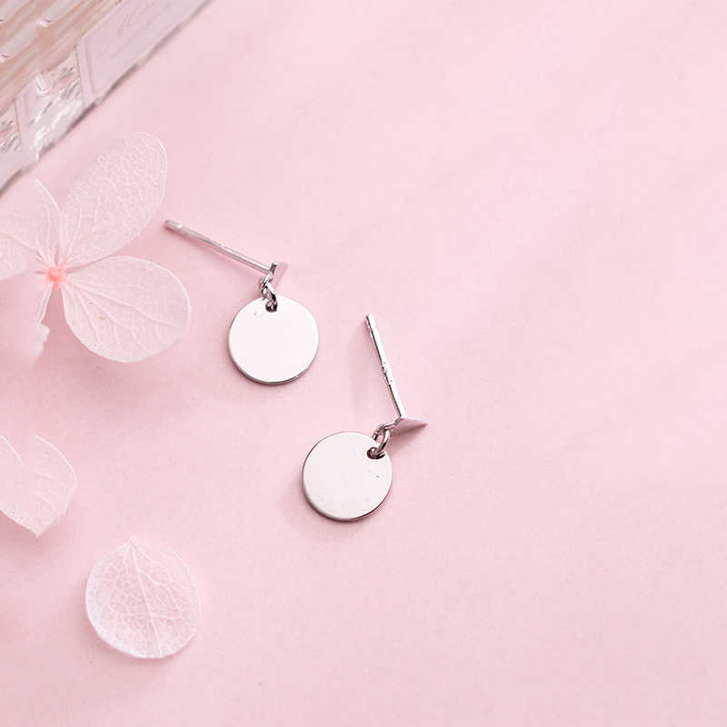 Inzatt Nyata 925 Sterling Silver Minimalis Bersinar Disc Bulat Drop Anting-Anting untuk Wanita Kepribadian Aksesoris Fashion Perhiasan