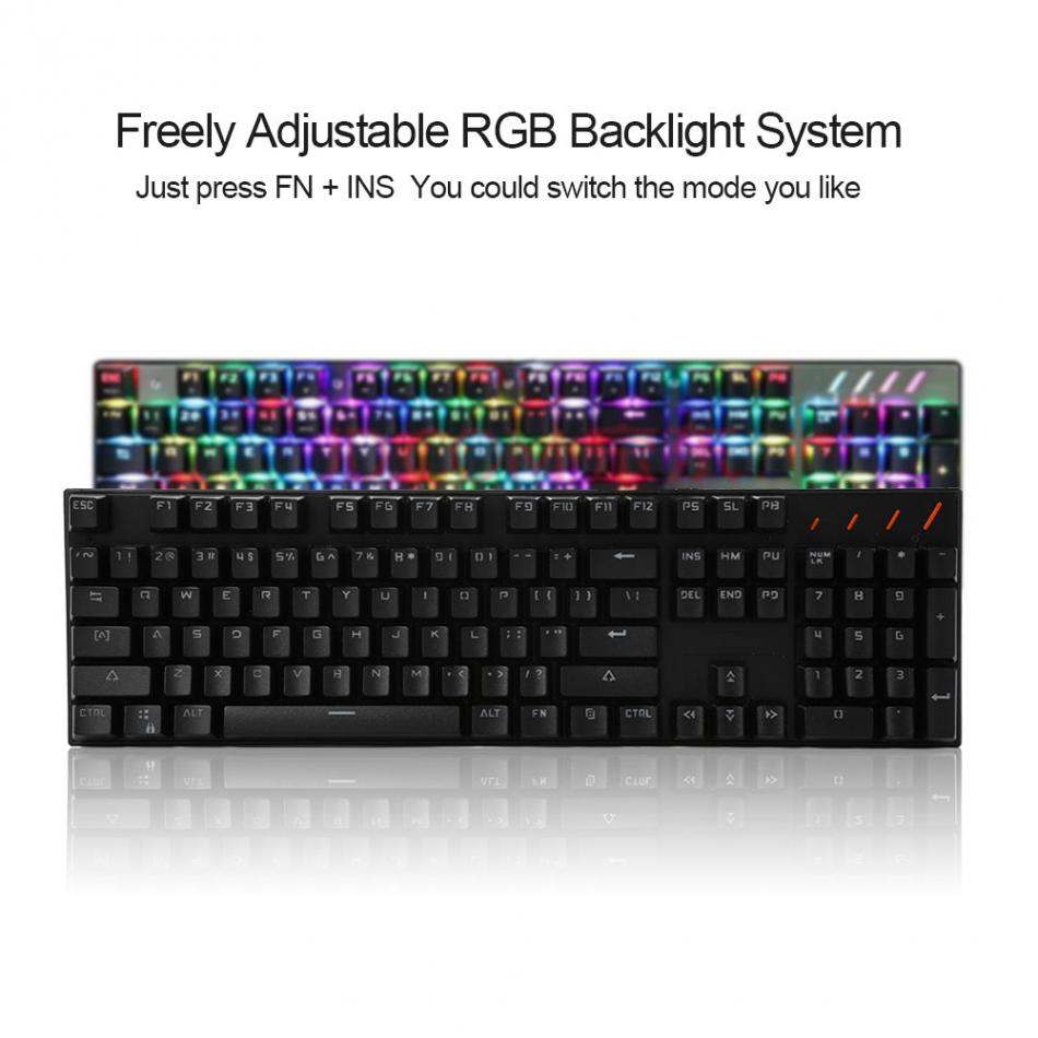 USB RGB Backlit 104 Key Game Mechanical Keyboard With 7 Kinds Light Blue Switch/Linear Action