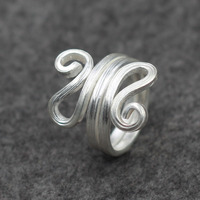 Thailand handmade925 silver rings, silver wire drawing new female original ring serpentine national wind