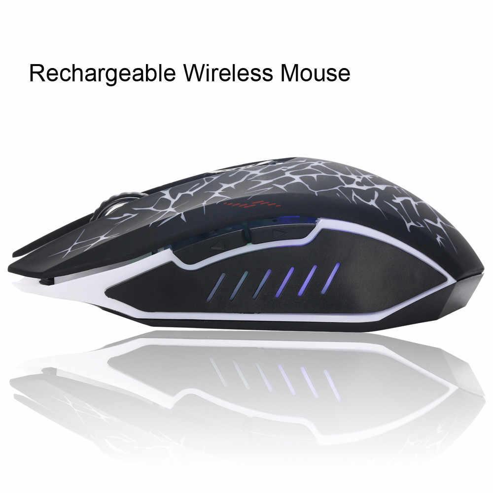 Retak Enam Tombol Pengisian Nirkabel Bisu Mouse Rechargeable Mute LED Backlight USB Optical Ergonomis Gaming Light Mouse