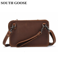 SOUTH GOOSE Vintage Men Messenger Bag Genuine Leather Business Small Briefcase Shoulder Bags Male Classic Clutch Handy Bag