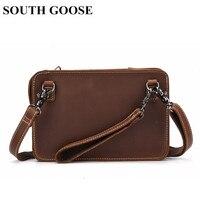 SOUTH GOOSE Vintage Men Messenger Bag Genuine Leather Business Small Briefcase Shoulder Bags Male Classic Clutch Handy Bag