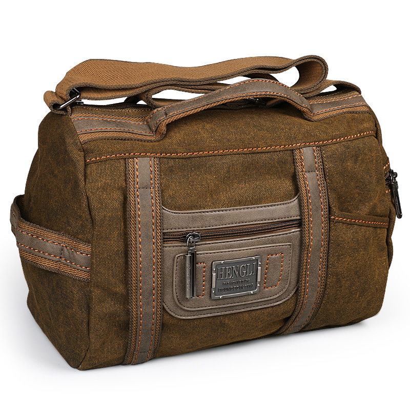 Ruil Men Travel Bag Folding Retro Canvas Messenger Shoulder Pocket Portable Outdoor Wear Resistance Leisure Bags