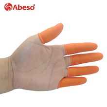 100/300PCs ABESO antiskid durable antislip latex oranger finger cots antislip for counting cleaning Electronic finger cots A7216