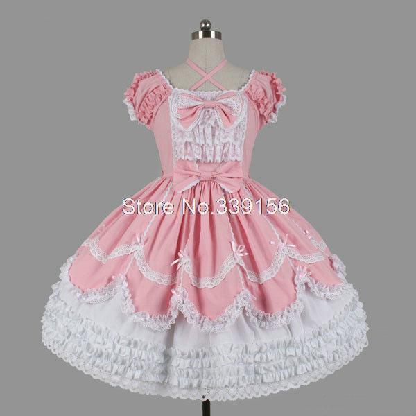 Venta caliente Rosa Encaje pastel Gothic Lolita vestido Niñas manga ...
