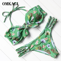 OMKAGI 2017 Sin Tirantes Verde Crochet Bikinis Mujeres Acolchado Cintura Baja Bikinis Set Sexy de Brasil Biquini traje de Baño Mujeres Ropa de Playa