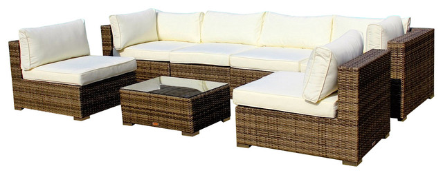 2017 All Weather Outdoor Wicker Sectional 7 Piece Resin Couch Set