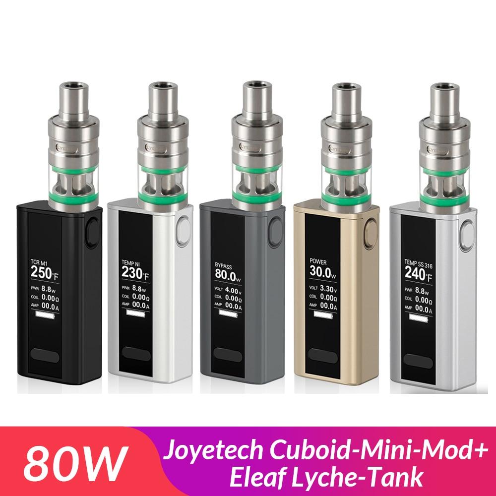 Promotion! Original Joyetech Cuboid Mini Mod+Lyche Tank Full Kit 80W with Built in 2400mAh Battery Vape kit Electronic Cigarette