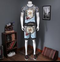 Summer New Star Pattern High End Double Mercerized Cotton Short Sleeve Sleeve Large Size