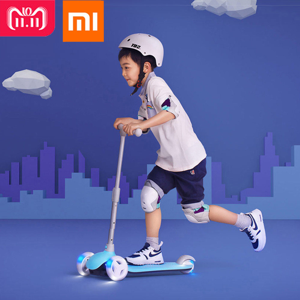 Xiaomi Mitu Scooter Kids 3 Wheels Multiple Double Spring Gravity Steering System For Children Led 3-6 Years Outdoor Fun Sports dual usb current voltage charger mobile power detector battery tester voltmeter ammeter