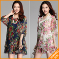 new 2017 women summer casual korean boho flowers floral print half sleeve big large size XXL XXXL short beach tunic dress #090