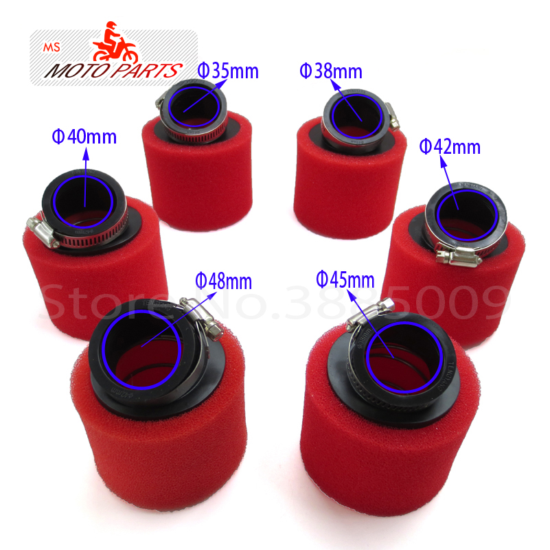 35mm 38mm 42mm 45mm <font><b>48mm</b></font> Bend Elbow Neck Foam <font><b>Air</b></font> <font><b>Filter</b></font> Sponge Cleaner Moped Scooter Dirt Pit Bike Motorcycle red Kayo BSE image