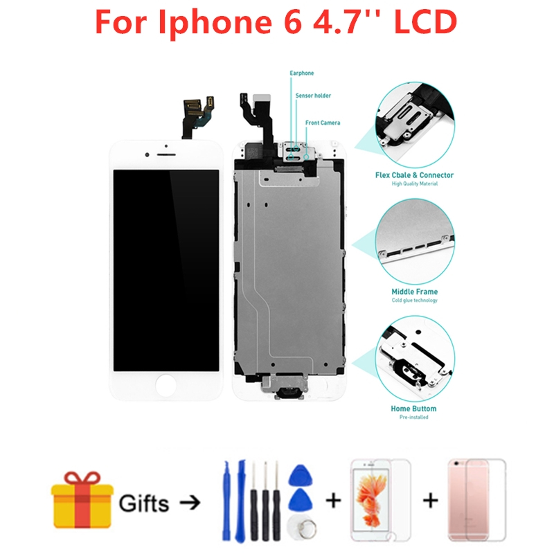 Full Assembly LCD Screen For iPhone 6 4 7 Inch Replacement Touch Digitizer Pre assembled Display Home Button Front Camera in Mobile Phone LCD Screens from Cellphones Telecommunications