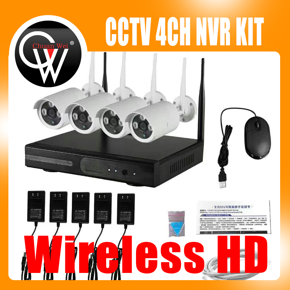 4CH Wireless NVR Kit P2P 720P HD Outdoor IR Night Vision Security IP Camera WIFI CCTV System