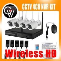 4ch Беспроводной NVR комплект P2P 720 P HD Открытый ИК Ночное Видение безопасности IP Камера WI FI CCTV Системы