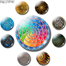 Flower of Life 30 MM Fridge Magnet Sacred Geometry Mandala Yoga refrigerator magnets message board fridge sticker Home Decor(China)
