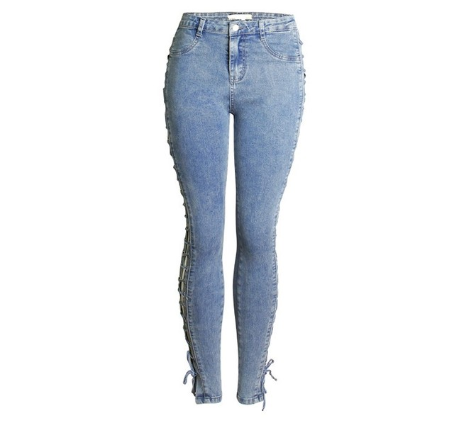 Lace Up Bandit High Waist Skinny Denim Jeans