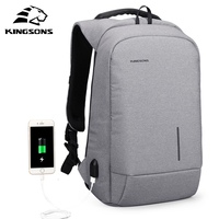 Kingsons Men USB Charging Backpacks For Teenagers Anti Theft Notebook Daypack 13 15 Inch Waterproof Laptop