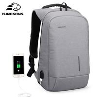 Kingsons Men USB Charging Backpacks For Teenagers Anti Theft Notebook Daypack 13 15 Inch Waterproof Laptop