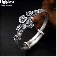 Uglyless Настоящее 925 пробы Серебряный браслет ручной работы матовый Цветочный Открытым браслеты для женщин сливы ювелирные украшения