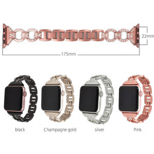 Applicable To For Apple Watch Stainless Steel Strap Applewatch8 Word Rhinestone Metal Chain Iwatch