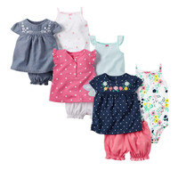 Fashion 2017 Orangemom Summer Short Sleeve Baby Sets For Baby Girl Clothes Cotton Girls Clothes Toddler