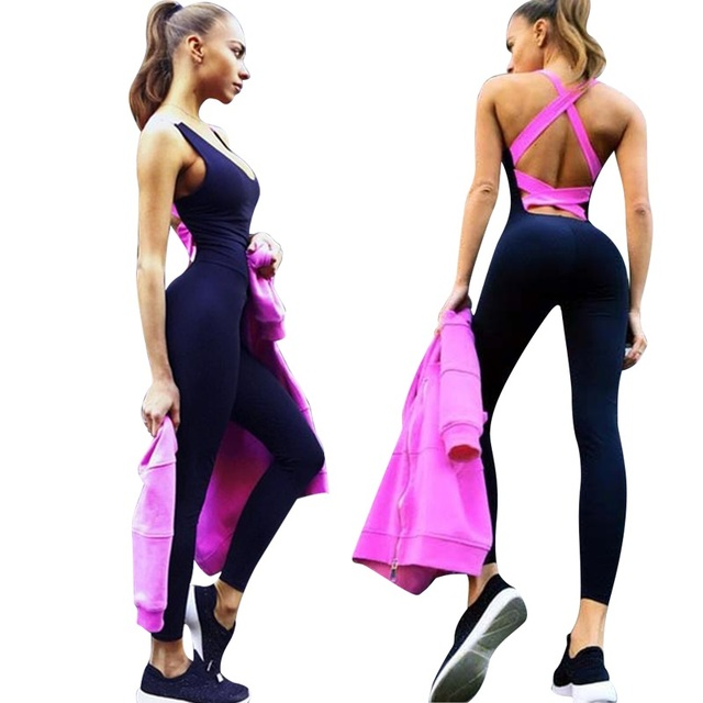 23d9db9c76f 2018 New Elasticity Fitness backless Jumpsuit   Rompers Sexy Skinny Bodysuit  Fashion Bandage Slim Playsuit Women Macacao
