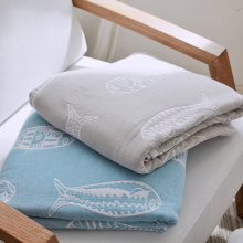 Fish Pattern Japan Style Summer Blankets For Beds Single Double Bed Cotton Yarn Knitted Solid Blue Quilt Soft Home
