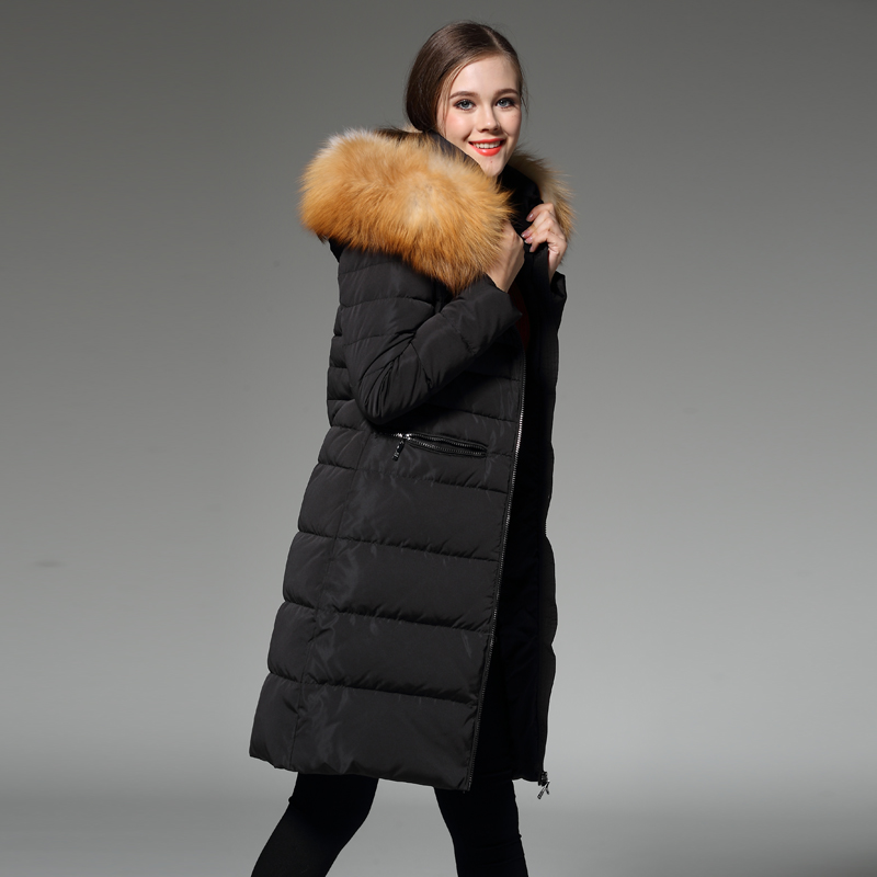 forlænget fortykning termisk slank rævpels-dunfrakke NY JAKKE - Dametøj - Foto 1