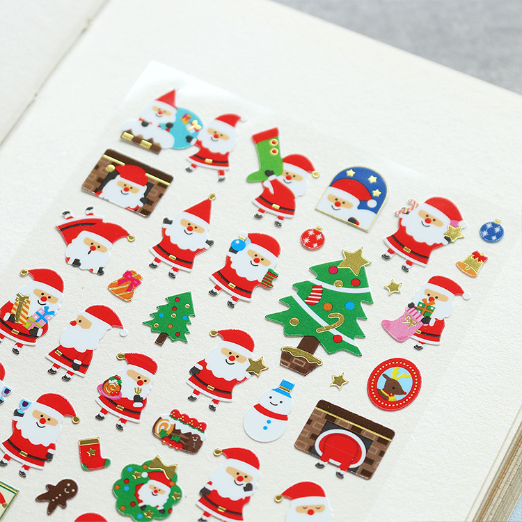 Merry Christmas Happy New Year Decorative Washi Stickers Scrapbooking Stick Label Diary Stationery Album Stickers merry christmas snowman pattern decorative stair stickers