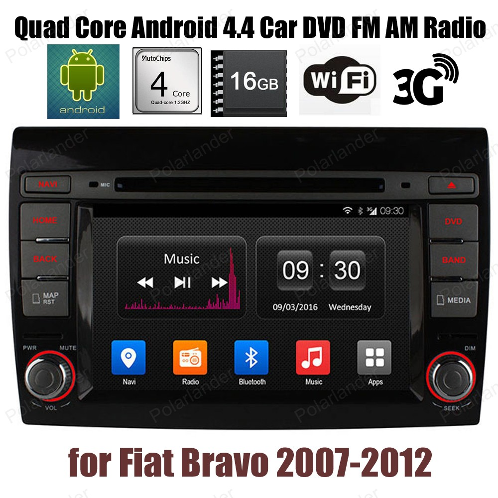 Android4.4 16G ROM voiture lecteur CD DVD Support DTV GPS BT 3G WiFi DAB + TPMS FM AM radio pour F/iat B/ravo 2007-2012