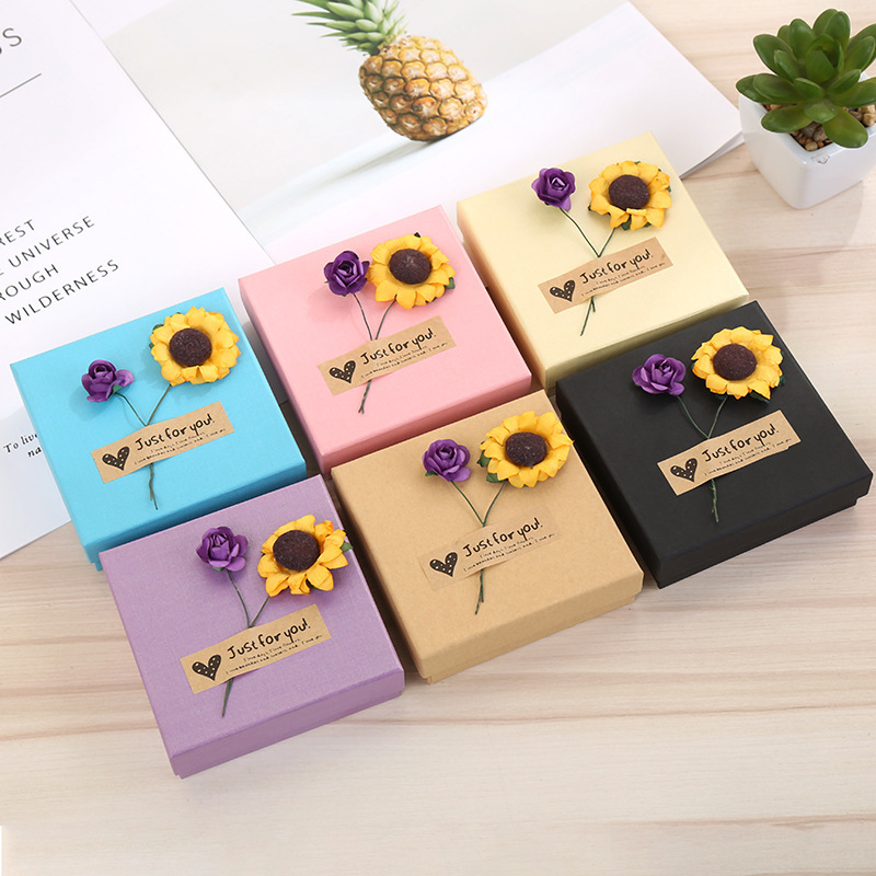 FANLUS Artificial Flowers Kraft Paper Gift Boxes,Candy Boxes,Jewel Case