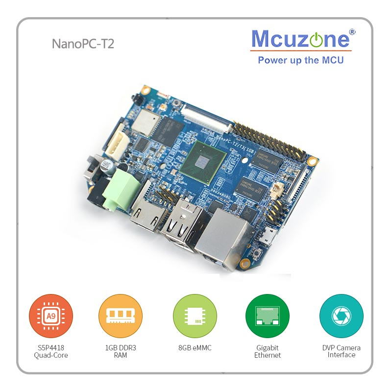 FriendlyARM NanoPC-T2 Onboard WiFi & Bluetooth Quad Core Cortex-A9 Development Board S5P4418 Card Computer 100x60cm