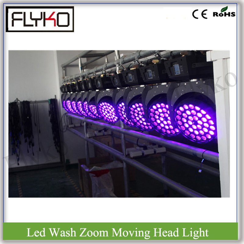 36 full color focus moving head RGBWA+UV 18W 6in1 led wash zoom touch screen