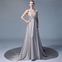 Высококачественное Серебряное платье с лямкой на шее Прозрачное