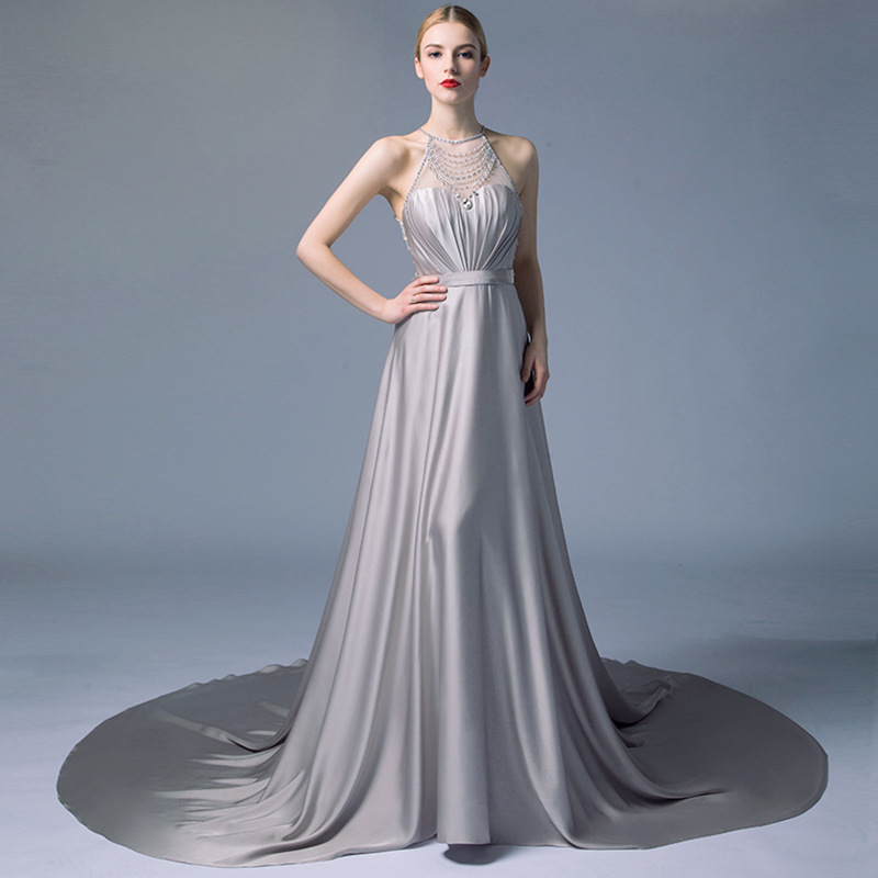 High Quality Silver Halter Crystal Sheer Back Lng Train Dresses for Wedding 2019 Evening Prom Party Gowns for vestidos de noiva
