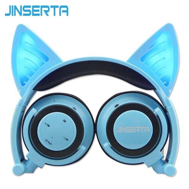bba68925945 JINSERTA Blue Bluetooth Wireless Cat Ear Headphones Folded Headband  earphone with LED cosplay Headset For Mobile Phone PC Laptop