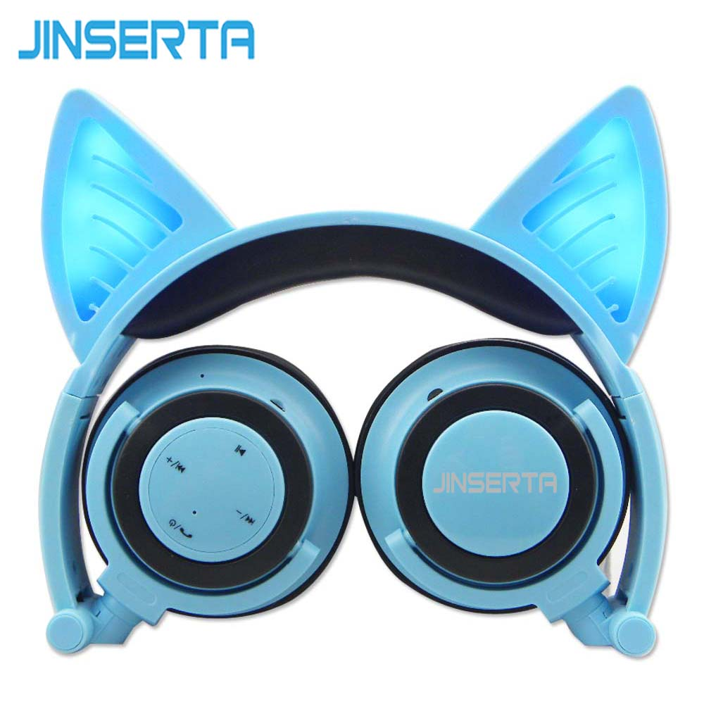 JINSERTA Blue Bluetooth Wireless Cat Ear Headphones Folded Headband earphone with LED cosplay Headset For Mobile Phone PC Laptop