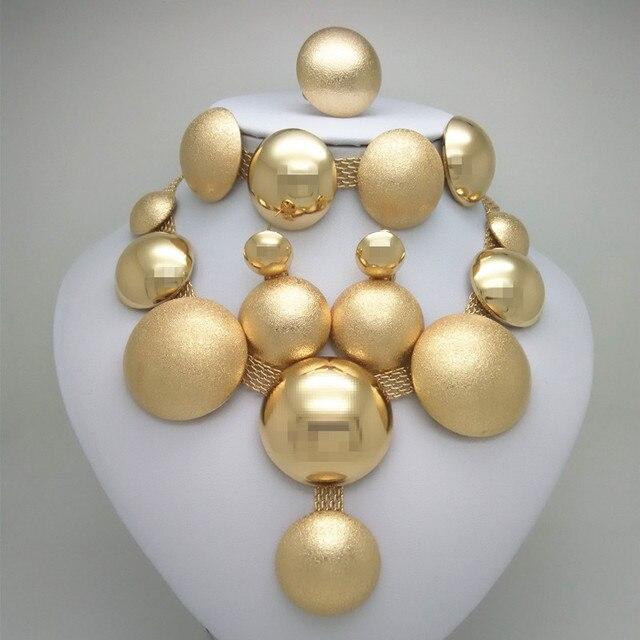0e2411925bf4 Reino Unido Ma oro color vestido de novia conjuntos de joyas para mujer  collar pendientes anillo