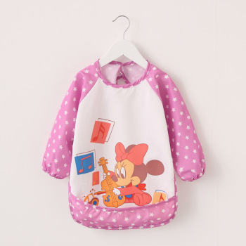 Baby Boy Bibs Waterproof Long Sleeve Mickey Minnie Girl Bibs Kids Burp Cloth Feeding Bib with Pocket Child Apron Smock 1