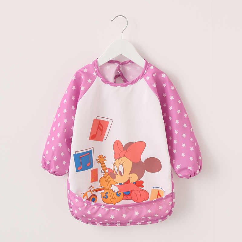 Для маленьких мальчиков нагрудники водонепроницаемый, с длинными рукавами Микки и Минни Маус нагрудники для девочек детский слюнявчик нагрудник для кормления с карманом Детский фартук сорочка, пляжное платье, платье