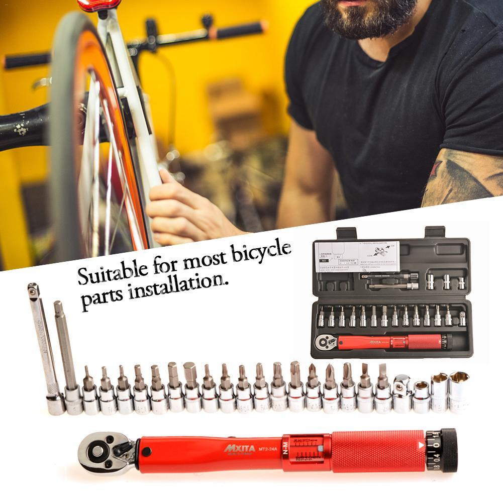 1/4 Inch 2-24Nm Bicycle Adjustable Torque Wrench Allen Key Tool Socket Set Kit Bike Repair Spanner Hand Tool Set1/4 Inch 2-24Nm Bicycle Adjustable Torque Wrench Allen Key Tool Socket Set Kit Bike Repair Spanner Hand Tool Set