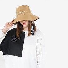 fb8b545bb85 Fashion Personality New Flat Top Big Brim Bucket Hats Female Visor Ribbon  Letter Basin Cap Autumn
