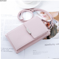 Mini mobile phone bag fresh wallet female vertical large capacity ladies wallet mini fashion wallet solid color key case